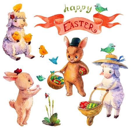pasen schaap: Pasen aquarel collectie met lamsvlees, konijn, vogels en bloemen voor mooie ontwerp van de Vakantie