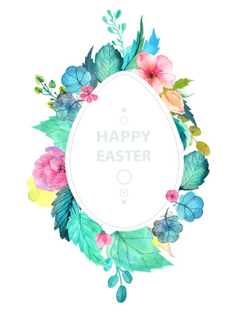Easter watercolor natural illustration with egg sticker for beautiful Holiday design Illustration