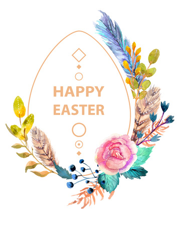 Easter watercolor natural illustration with egg sticker for beautiful Holiday design