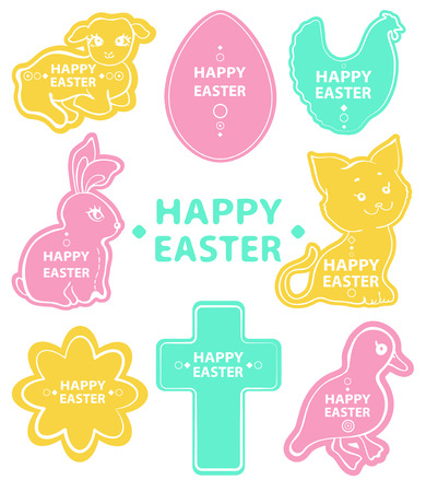 Easter sticker collection, cute animals for beautiful design Vector
