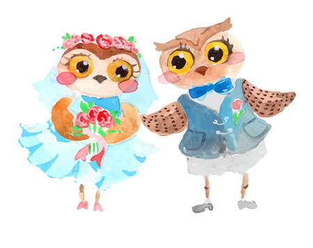 Watercolor cute owls over white Vector
