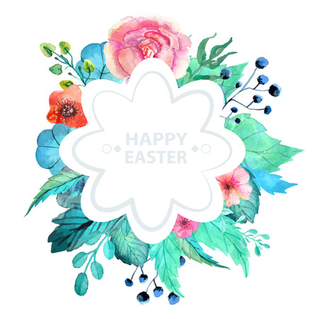 flores vintage: Easter watercolor natural illustration with flower sticker for beautiful Holiday design