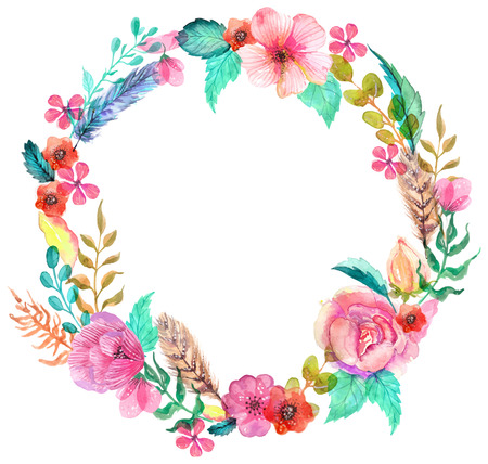 retro flower: Flower watercolor wreath for beautiful design