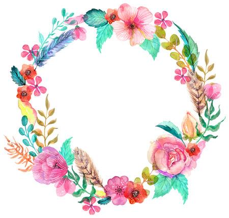 leaves frame: Guirnalda de la flor de la acuarela para el dise�o hermoso