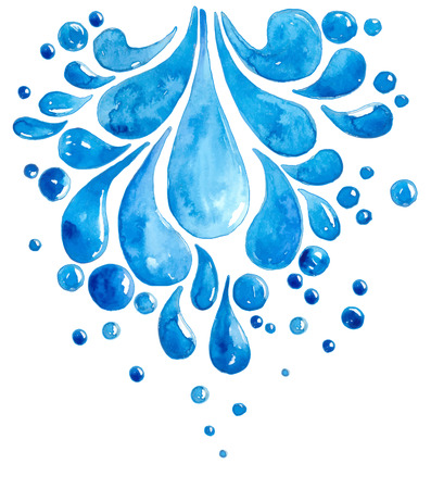 Watercolor Drops of water over white