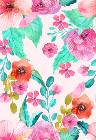 Watercolor floral seamless pattern, colorful natural illustration