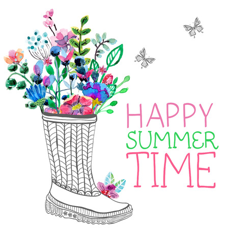 rubber boots: Watercolor flowers and garden rubber boots over white