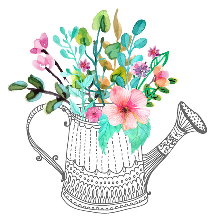 Watercolor flowers and doodle watering can over white