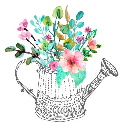 Fleurs Aquarelle et doodle arrosoir sur blanc Banque d'images - 37490050