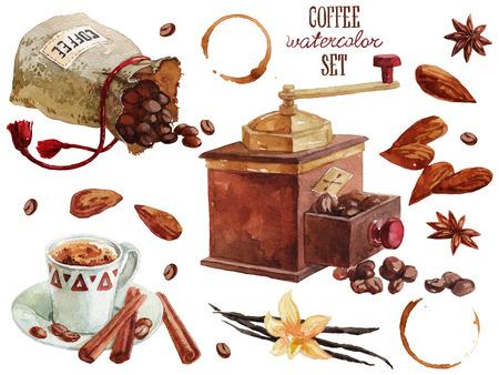 Koffie waterverfinzameling over wit Stockfoto