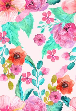 水彩花柄シームレス パターン、カラフルな自然の風景  イラスト・ベクター素材