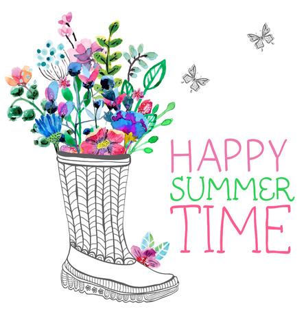 水彩花と白で庭の長靴  イラスト・ベクター素材