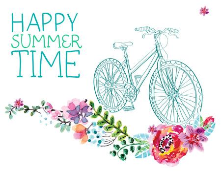 水彩花と美しいデザインの白自転車  イラスト・ベクター素材