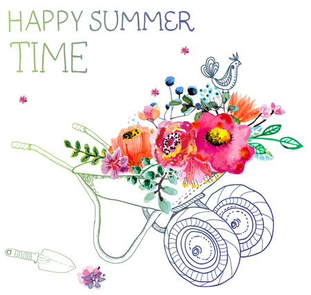 Watercolor flowers and garden trolley over white, beautiful summer illustration