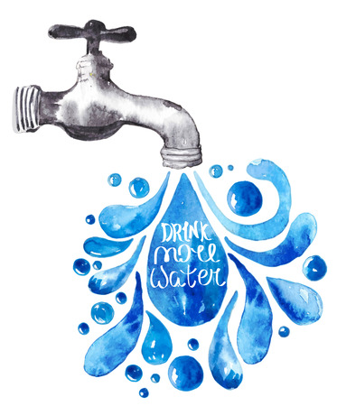 running water: Watercolor faucet with water drops over white, Vector illustration