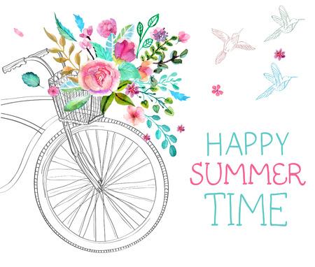 estate: Fiori dell'acquerello e della bicicletta su bianco per il bel design