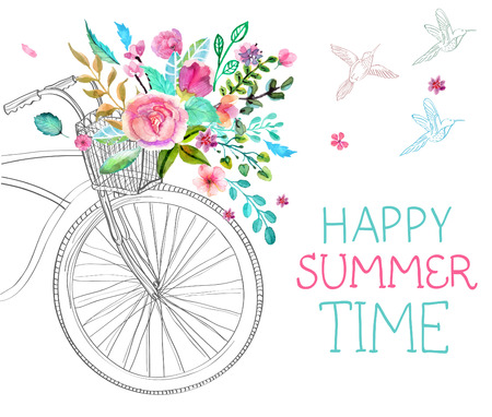 bikes: Watercolor flowers and bicycle over white for beautiful design