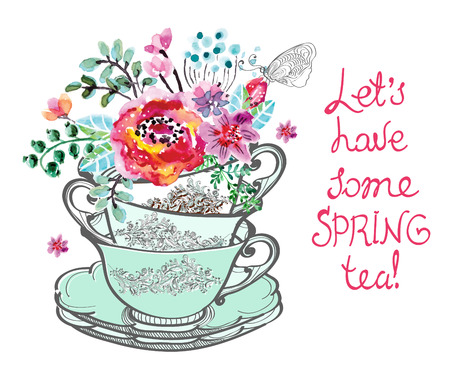 english breakfast tea: Beautiful card with watercolor flowers and text over white Illustration