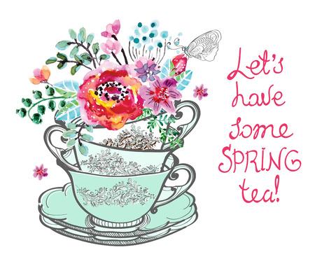 tazza di th�: Bella carta con fiori acquerello e testo su bianco Vettoriali