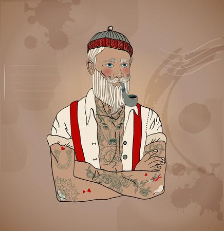 vintage portrait: Hipster sailor man, vintage style illustration Illustration