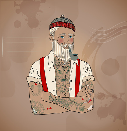 Hipster sailor man, vintage style illustration Illustration