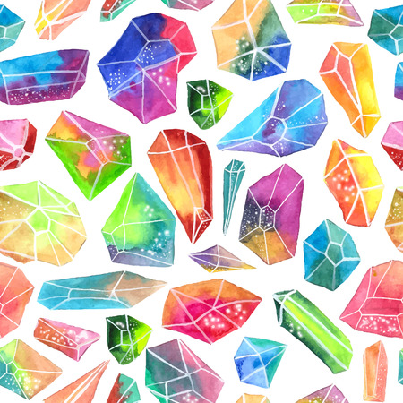 emerald stone: Colorful watercolor gem pattern, beautiful crystal Seamless pattern over white