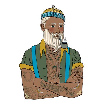 fashion portrait: Hipster sailor man, vintage style illustration Illustration