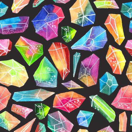 gem: Colorful watercolor gem pattern, beautiful crystal Seamless pattern over black