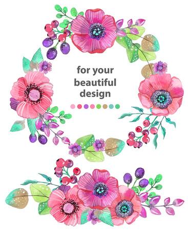 나뭇잎과 꽃, 수채화 일러스트와 함께 화려한 꽃 카드입니다. 초대, 결혼식 또는 인사말 카드 디자인에 대 한 일러스트