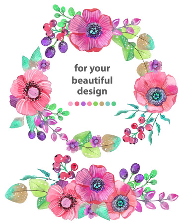 Colorful floral card with leaves and flowers, watercolor illustration. For design of  invitation, wedding or greeting cards Vectores