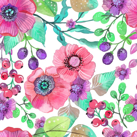 Seamless natural background with pink flowers and berries, plant illustration