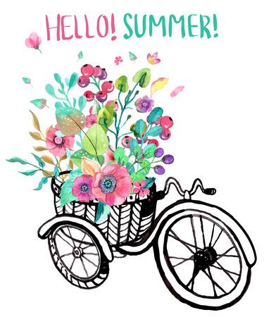 자전거와 수채화 꽃, 세발 자전거