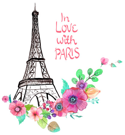 Eiffel Tower: Eiffel tower with watercolor flowers, colorful illustration for beautiful design