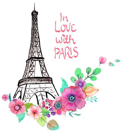 paris vintage: Torre Eiffel con flores de la acuarela, ilustración colorida de hermoso diseño