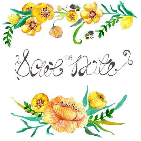 웨딩 디자인 노란색 수채화 및 녹색 꽃과 꿀벌 일러스트