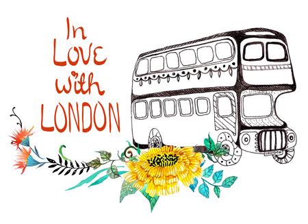 bus anglais: Bus londonien avec des fleurs à l'aquarelle sur blanc