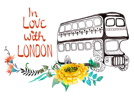 london bus: London bus with watercolor flowers over white Illustration