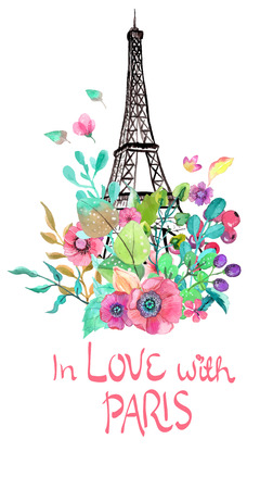 france painted: Eiffel tower with watercolor flowers, colorful illustration for beautiful design