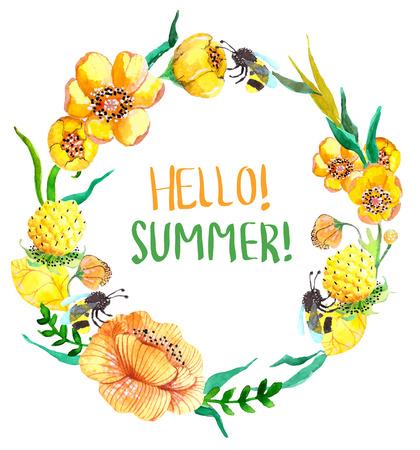 흰색 위에 수채화 노란색과 녹색 꽃