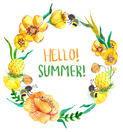 Watercolor yellow and green flowers over white Illustration
