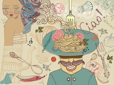 Comida, ejemplo, comida mediterránea italiana Ilustración de vector