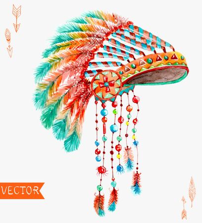 indian headdress: Tribal indian hat, watercolor background for beautiful design Illustration