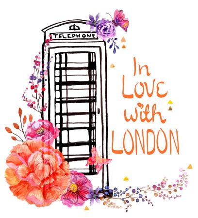 수채화 꽃과 런던 전화 부스, 아름 다운 여행 설계를위한 다채로운 그림