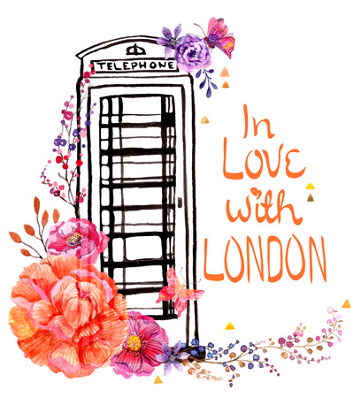 London phone booth with watercolor flowers, colorful illustration for beautiful travel design Stock Illustratie