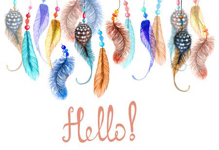 atrapasueños: Dibujado a mano de colores de fondo plumas de acuarela, hermosa ilustración
