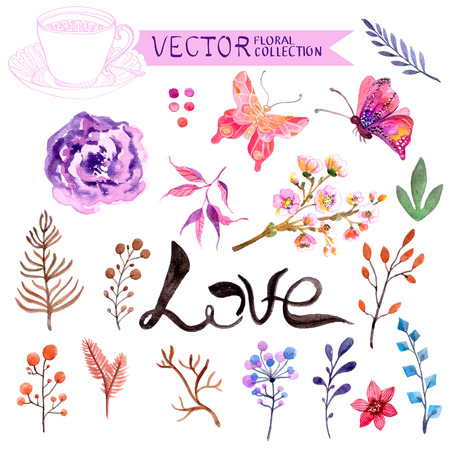 Watercolor flowers collection for different design Vettoriali