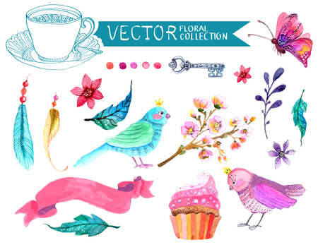 Watercolor flowers collection for different design with bird, feather, butterfly and ribbon