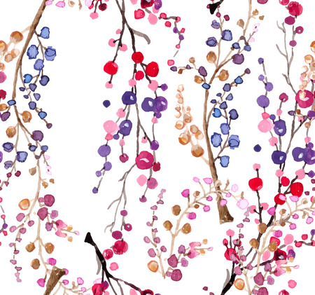 Seamless watercolor floral background, beautiful natural pattern