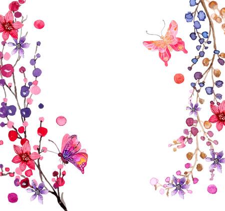아름다운 디자인, 수채화 꽃 배경 일러스트