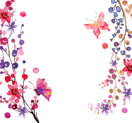 butterfly flower: Watercolor flowers background for beautiful design